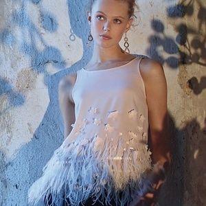 NWT ANTHRO Moulinette Soeurs Feather Fringe Top L